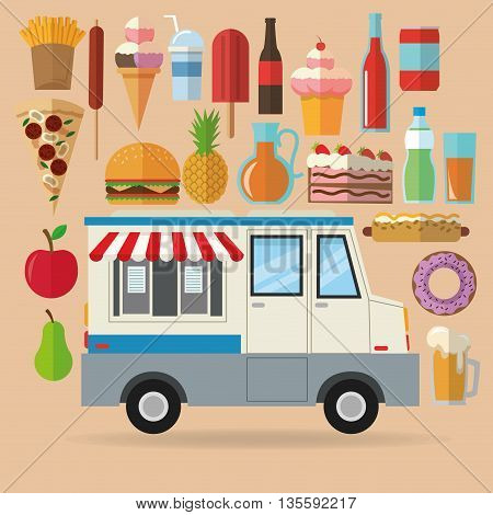 Delicius Food represented by set of food with truck icon over pastel and flat background