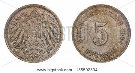Five Pfennig Coin Formerly Used In The German Reich