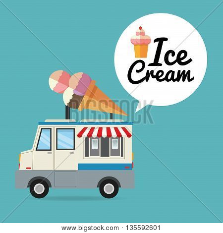 Delicius Food represented by ice cream with truck icon over pastel and flat background