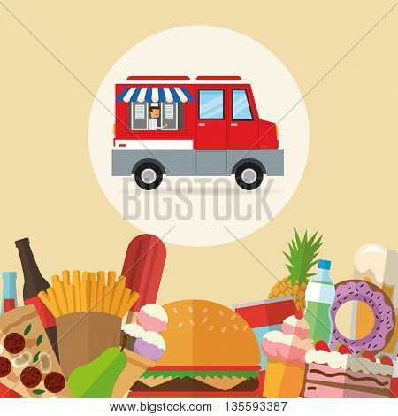 Delicius Food represented by variety of food  with truck icon over pastel and flat background