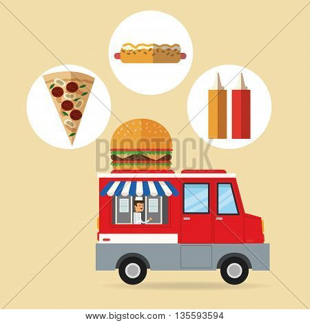 Delicius Food represented by fast food with truck icon over pastel and flat background