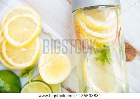 Detox Infused Water With Lemon, Lime, Ginger Lemonade