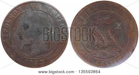 Ten Centimes Coin Used In 19Th Century France, With A Portrait Of Napoleon