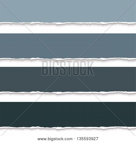 Collection of torn paper banners for notes, realistic vector illustration. Torn pages with torn edges. Vector paper template