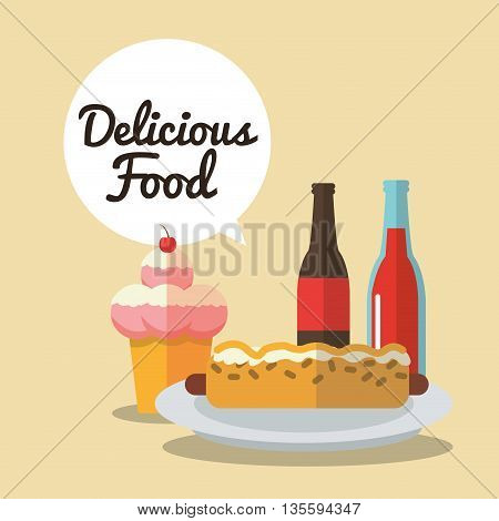 Delicius Food represented by hot dog and ice cream  icon over pastel and flat background