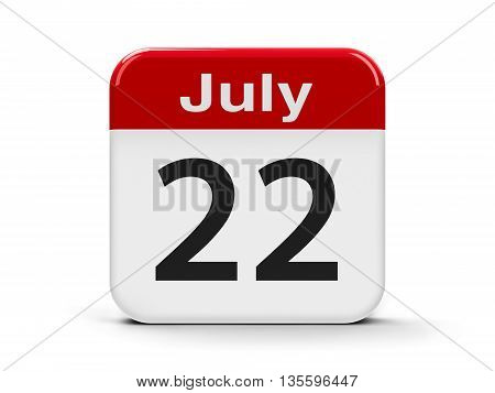 Calendar web button - The Twenty Second of July three-dimensional rendering 3D illustration