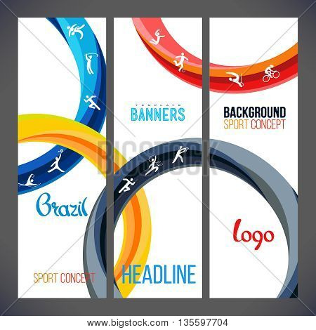 Vector template design strips of colored rings and waves. Concept sport banners, Web sites, page,leaflet, signs Brazil and text separately. Sport concept banners with symbols of sports competitions.