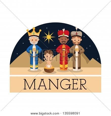Manger represented by three wiseman icon. isolated background. Merry Christmas design.