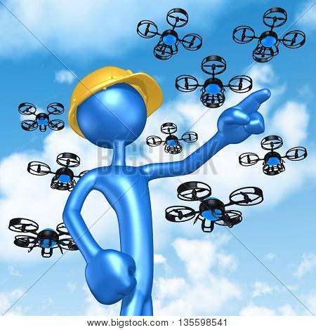 Construction Worker With Aerial Drone 3D Illustration Concept