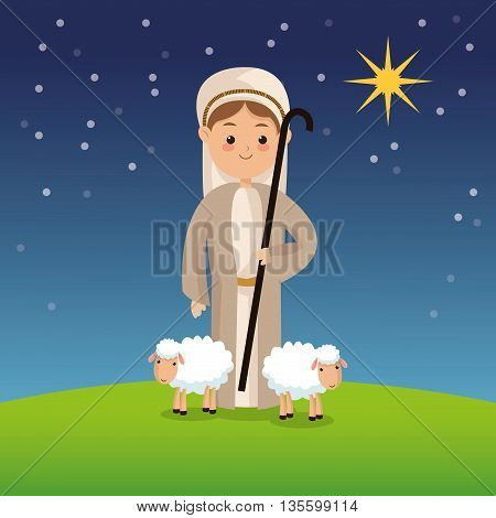 Manger represented by Shepherd icon over night background. Merry Christmas design.