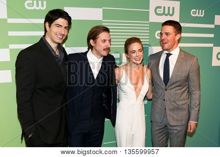 NEW YORK, NY - MAY 14: (L-R) Actors Brandon Routh, Arthur Darvill, Caity Lotz and Stephen Amell attend the 2015 CW Network Upfront Presentation at the London Hotel on May 14, 2015 in New York City.
