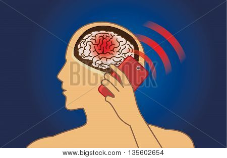 Brain damage from using mobile phone radiation in a long time. Medical illustration