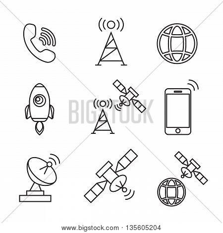 Satellite icons vector. Satellite communication wireless satellite connection satellite technology eps10