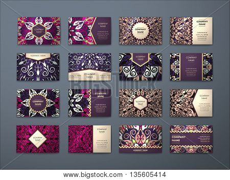 Vector vintage business cards big set. Floral mandala pattern and ornaments. Oriental design Layout. Islam Arabic Indian ottoman motifs. Front page and back page.