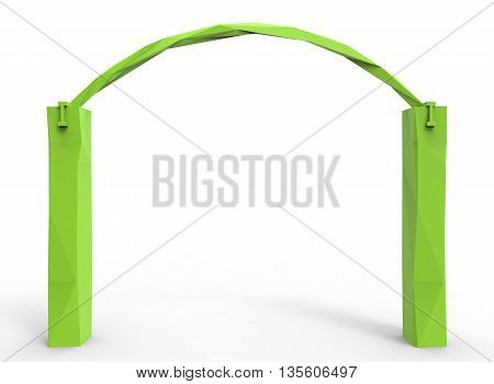 3d illustration of low poly alcove. icon for game web. white background isolated. green color