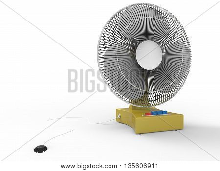 3d illustration of simple wind fan. icon for game web. texture color. white background isolated with shadow. simple to use. empty without anybody. hot and cold. summer tropic help.