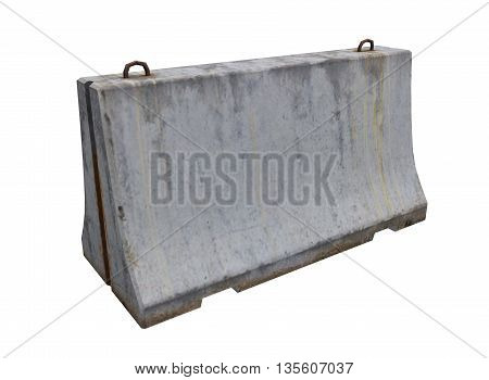 3d illustration of simple concrete barrier. icon for game web. rock texture color. white background isolated. simple to use. empty without anybody. defense from enemy and cars. protection of road