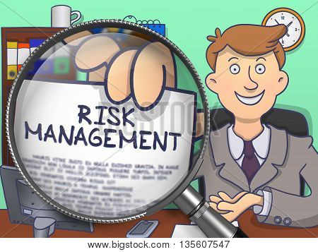 Risk Management on Paper in Man's Hand through Lens to Illustrate a Business Concept. Multicolor Doodle Illustration.