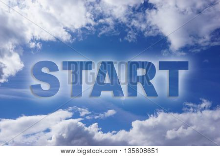 Start word on nature blue sky background