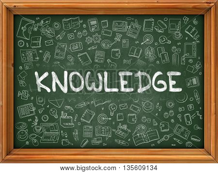 Knowledge Concept. Modern Line Style Illustration. Knowledge Handwritten on Green Chalkboard with Doodle Icons Around. Doodle Design Style of Knowledge Concept.