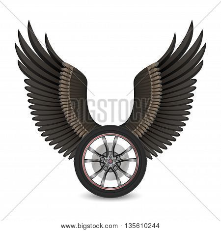 Wheel and wings for t-shirt print poster emblem. Vector illustration. Vector Winged wheel.