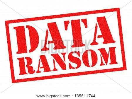 DATA RANSOM red Rubber Stamp over a white background.