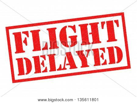 FLIGHT DELAYED red Rubber Stamp over a white background.
