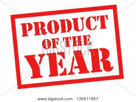 PRODUCT OF THE YEAR red Rubber Stamp over a white background.