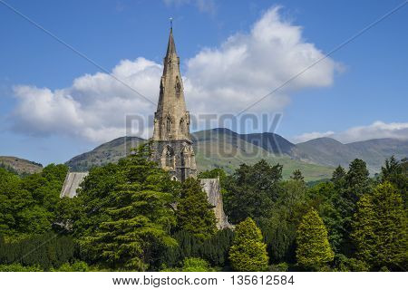 A view of the beautiful St. Marys church in Ambleside Cumbia.