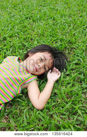Young girl having good time in the park.