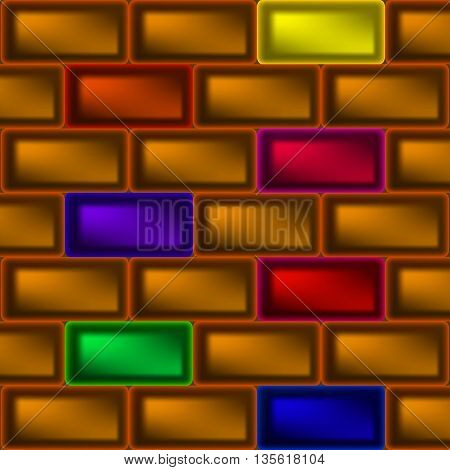The wall of the ingot. Ingots of different colors red blue purple green orange.