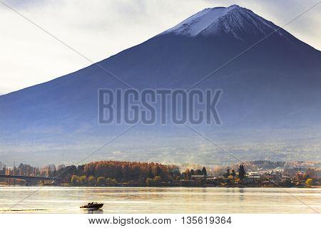 Mt. Fuji View From Kawaguchi-ko Lake Village In Autumn Season, Japan