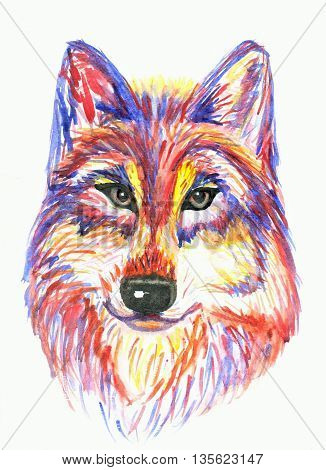 Unreal warercolour wolf or Huskes is loking at you