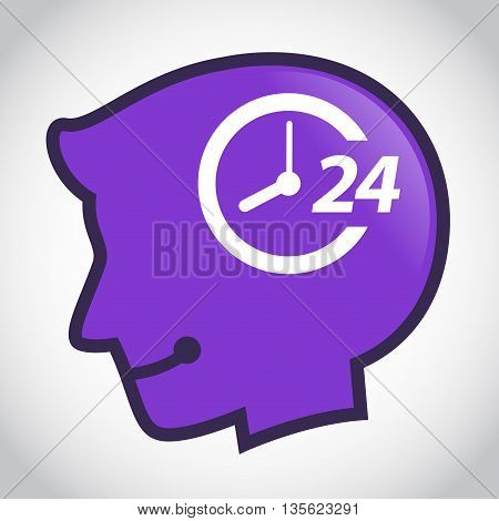 Vector stock of human head silhouette with 24 hour non stop symbol inside