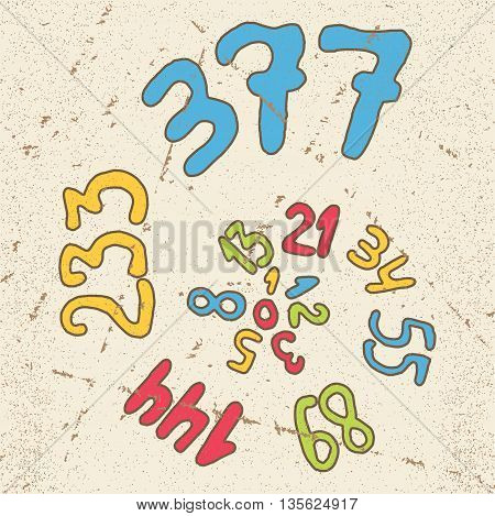 Fibonacci series numbers hand drawn. Vector illustration for mathematical function golden ration proportion logarithmic grows