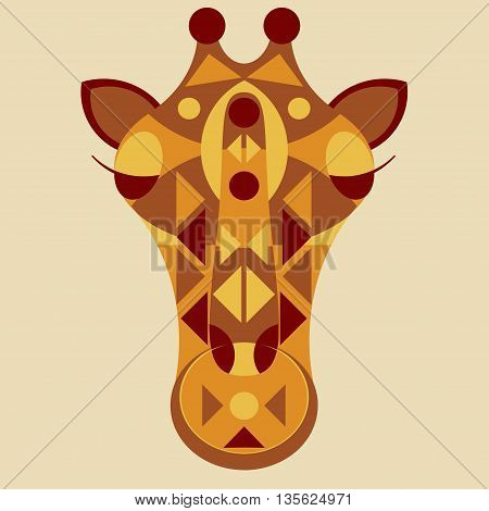 Giraffe ornate head. Vector illustration of giraffe in geometric tribal style mascot animal giraffe mask