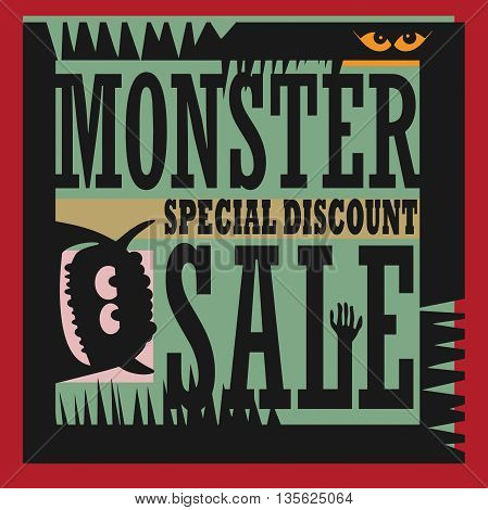 Abstract Monster Sale sign or symbol, vector illustration