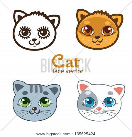 Vector Set Of Different Cartoon Cats Faces. Cartoon Animals Head Icon Vector. Cats Funny Painted Faces.