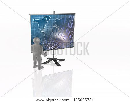 Man with presentation stand white background, 3D illustration.