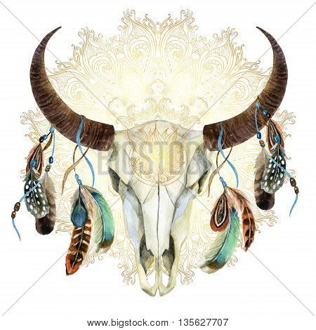 watercolor buffalo skull with feathers on golden mandala background. Animal skull in boho style hand painted illustration