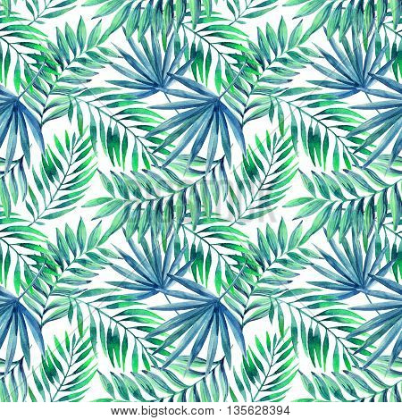Watercolor tropical leaves seamless pattern. Jungle leaves on white background. Hand painted illustration