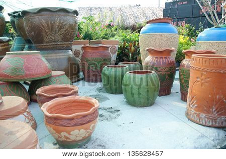 A lot of Pottery handicrafts in local of Thailand shop