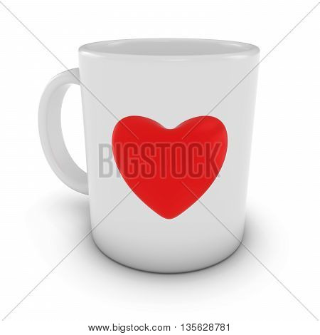 Red Love Heart Coffee Mug Isolated on White Background 3D Illustration