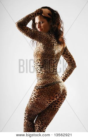 Woman In Catsuit As A Cat