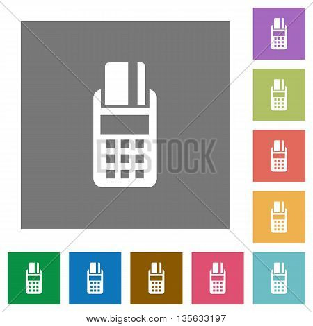 POS terminal flat icon set on color square background.