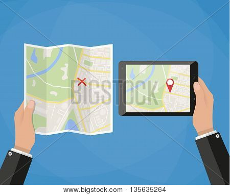 Hand holds tablet with city map gps navigator on tablet screen, another hand holds folded paper city map. comparison of new and old technologies. Navigation concept. vector illustration in flat style