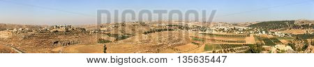 Panorama of two palestinian villages in Judea