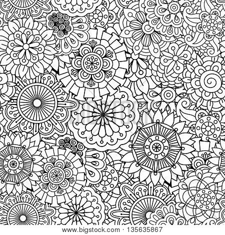 Outlined background design of seamless ornate textile patterns with floral and pinwheel shapes