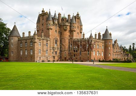 Angus Scotland - July 27 2012: Fife area the Glamis castle childhood home of the Queen Elizabeth.