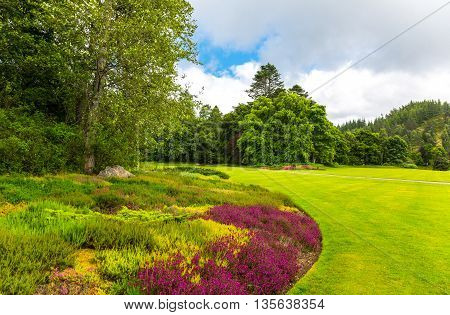 Great Britain Scotland Aberdeenshire the gardens of the Balmoral castle summer residence of the British Royal Family.